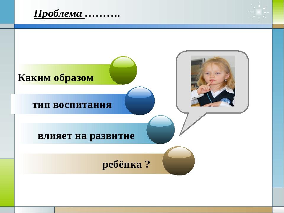 Каким образом тип воспитания влияет на развитие ребёнка ? Проблема ……….