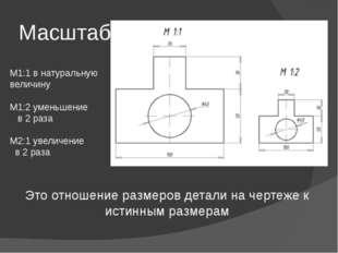 Масштаб Это отношение размеров детали на чертеже к истинным размерам М1:1 в н