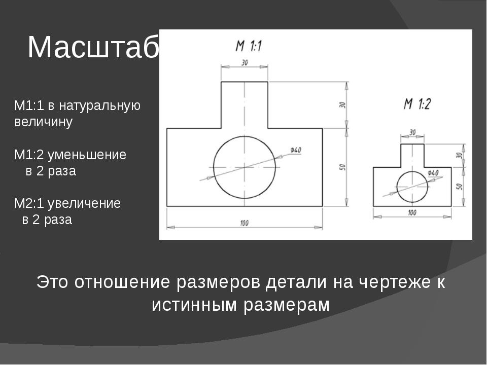 Масштаб Это отношение размеров детали на чертеже к истинным размерам М1:1 в н...