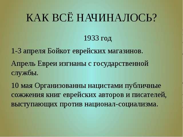 КАК ВСЁ НАЧИНАЛОСЬ? 1933 год 1-3 апреля Бойкот еврейских магазинов. Апрель Ев...