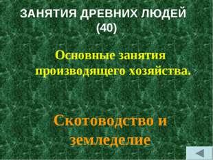 ЗАНЯТИЯ ДРЕВНИХ ЛЮДЕЙ (40) Основные занятия производящего хозяйства. Скотовод
