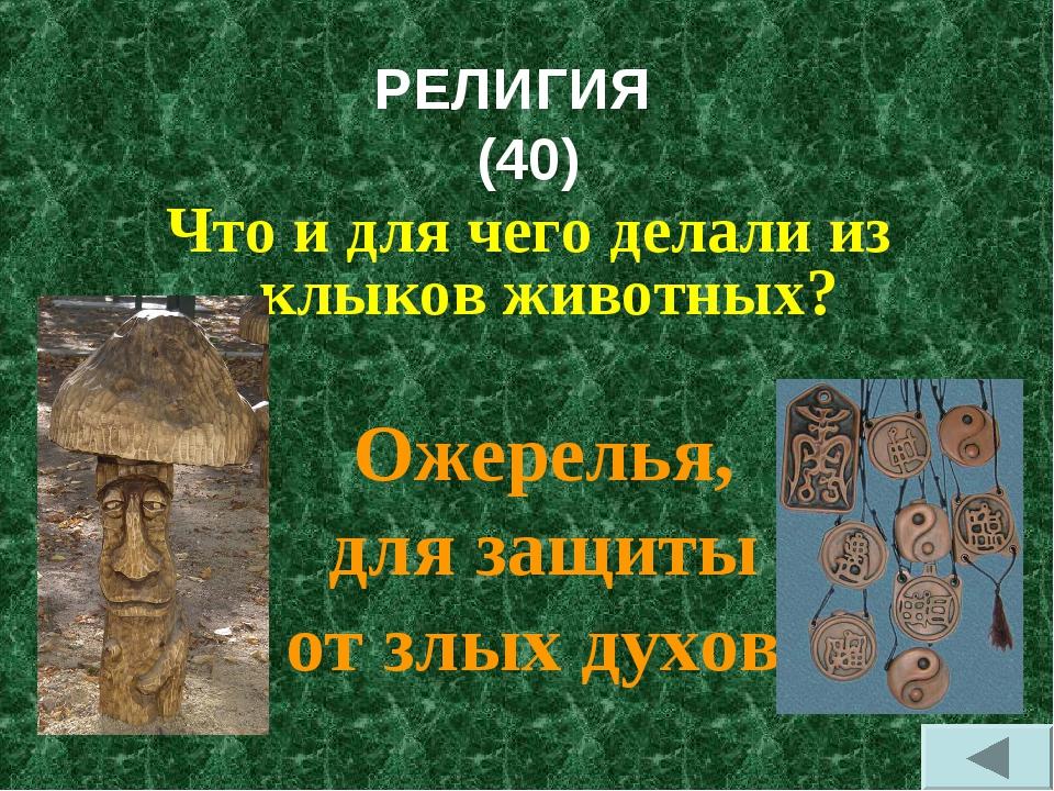РЕЛИГИЯ (40) Что и для чего делали из клыков животных? Ожерелья, для защиты о...