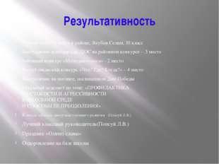 Результативность Ученик года – 1 место в районе, Якубов Селим, 10 класс Высту