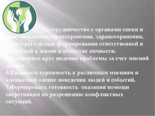 4.Сотрудничество с органами опеки и попечительства, правохранения, здравоохр