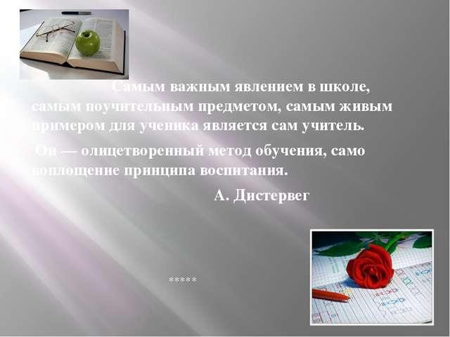Самым важным явлением в школе, самым поучительным предметом, самым живым при...