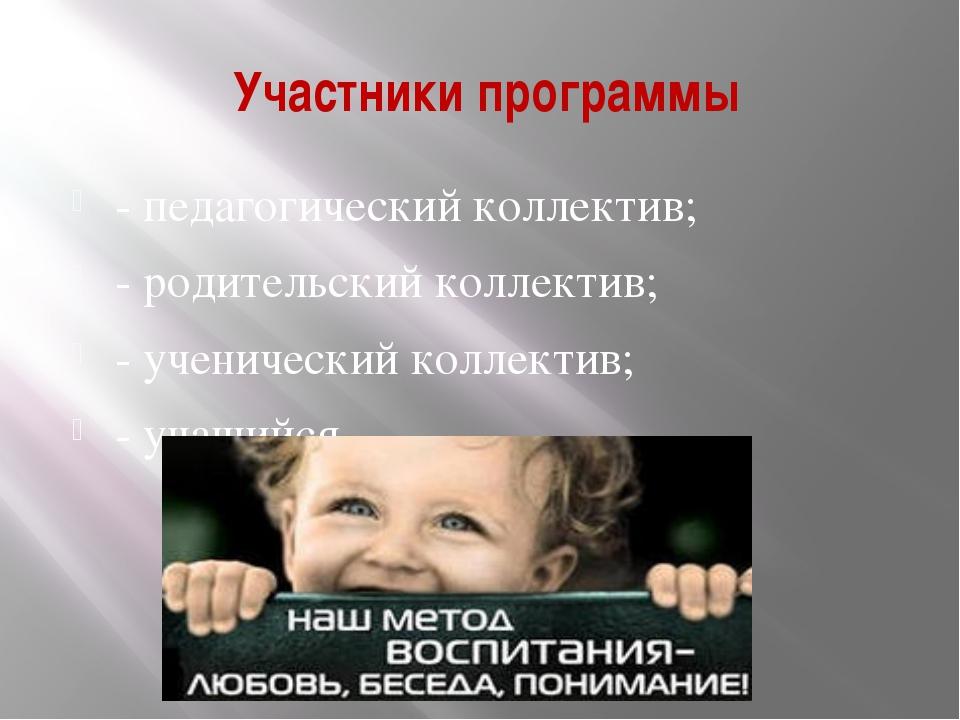 Участники программы - педагогический коллектив; - родительский коллектив; -...