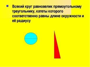 Всякий круг равновелик прямоугольному треугольнику, катеты которого соответст