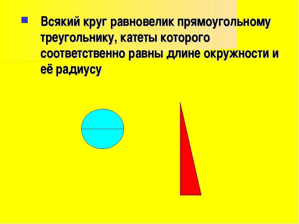 Всякий круг равновелик прямоугольному треугольнику, катеты которого соответст...