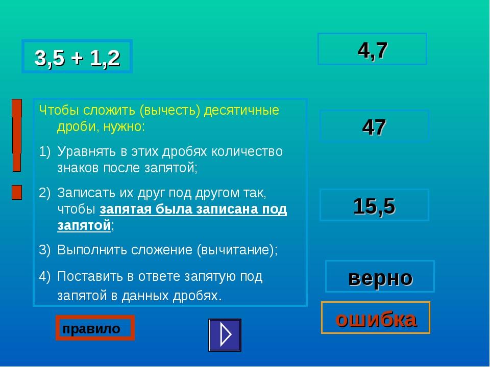 3,5 + 1,2 4,7 47 верно ошибка 15,5 правило Учитель математики: Колесникова Лю...