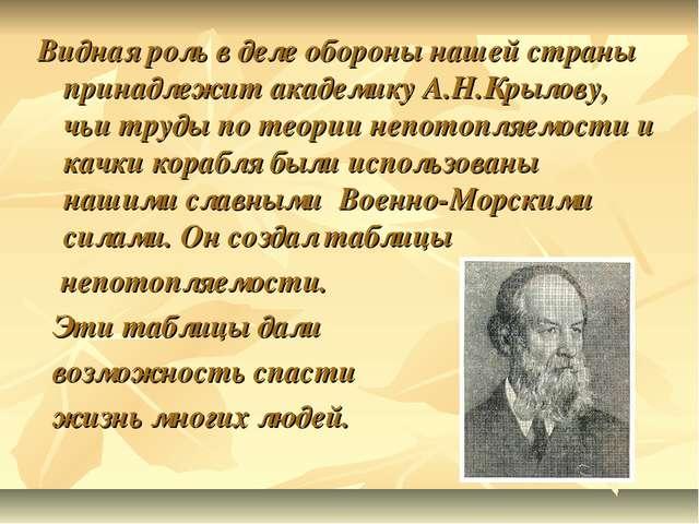 Видная роль в деле обороны нашей страны принадлежит академику А.Н.Крылову, чь...