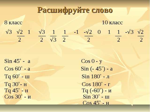 Расшифруйте слово 8 класс 10 класс Sin 45˚ - а Cos 0 - у Cos 60˚ - а Sin (- 4...