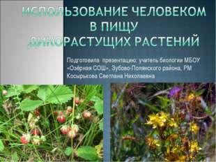 Подготовила презентацию: учитель биологии МБОУ «Озёрная СОШ», Зубово-Полянско