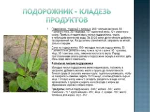 Подорожник, тушенный сзеленью: 200 глистьев растения, 50 гзеленого лука, 3