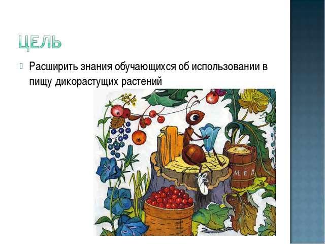 Расширить знания обучающихся об использовании в пищу дикорастущих растений