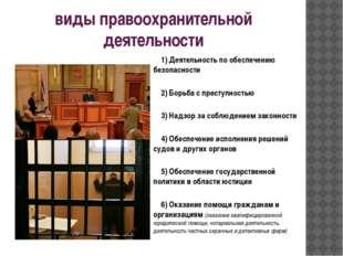 виды правоохранительной деятельности 1) Деятельность по обеспечению безопасн