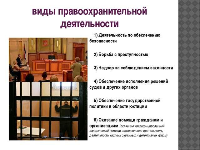 виды правоохранительной деятельности 1) Деятельность по обеспечению безопасн...