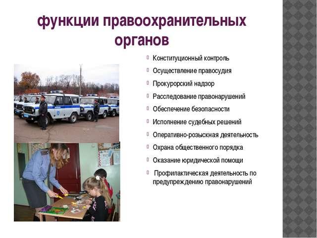 функции правоохранительных органов Конституционный контроль Осуществление пра...