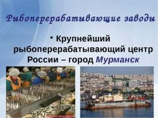 Рыбоперерабатывающие заводы Крупнейший рыбоперерабатывающий центр России – го