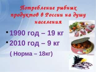 Потребление рыбных продуктов в России на душу населения 1990 год – 19 кг 2010
