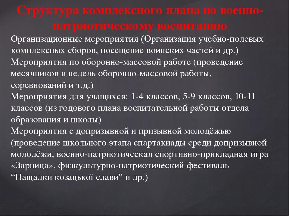 Структура комплексного плана по военно-патриотическому воспитанию Организацио...