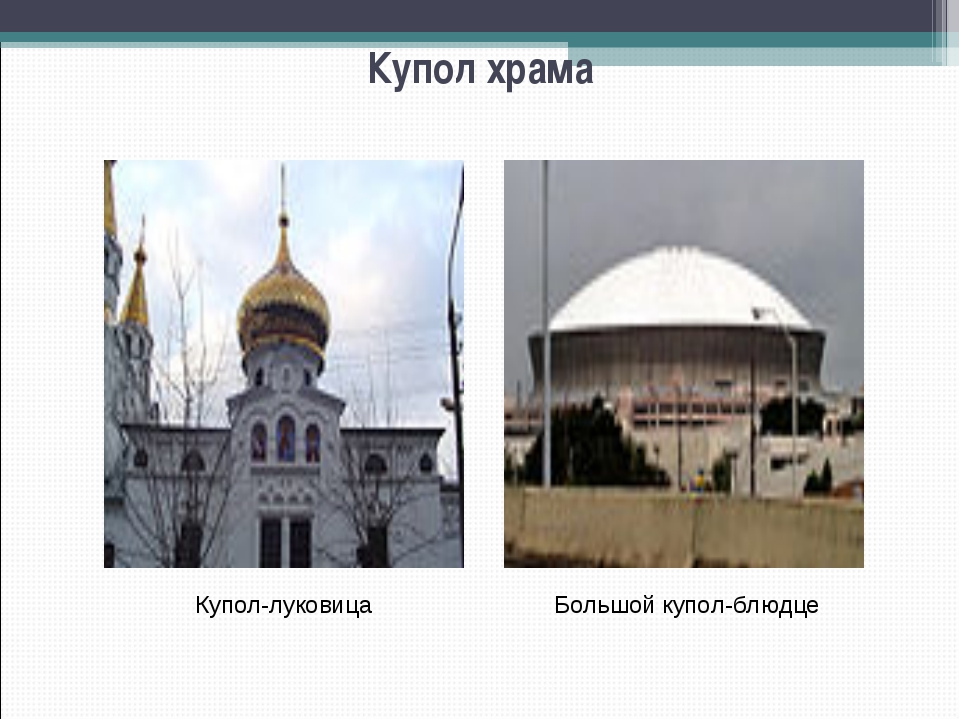 Купол храма Большой купол-блюдце Купол-луковица