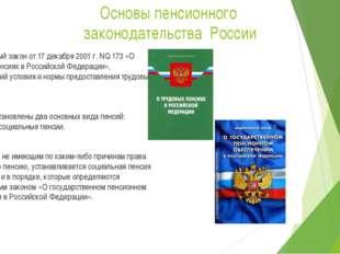 Основы пенсионного законодательства России Федеральный закон от 17 декабря 20
