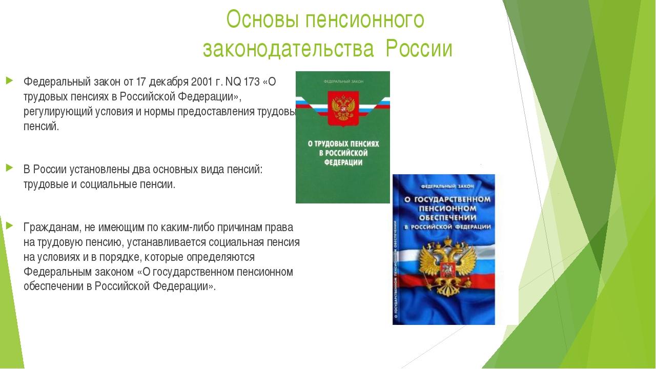 Основы пенсионного законодательства России Федеральный закон от 17 декабря 20...