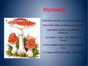 Мухомор. Красная шляпка, на шляпке горошки, Короткая юбка на беленькой ножке