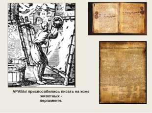 АРАБЫ приспособились писать на коже животных - пергаменте.