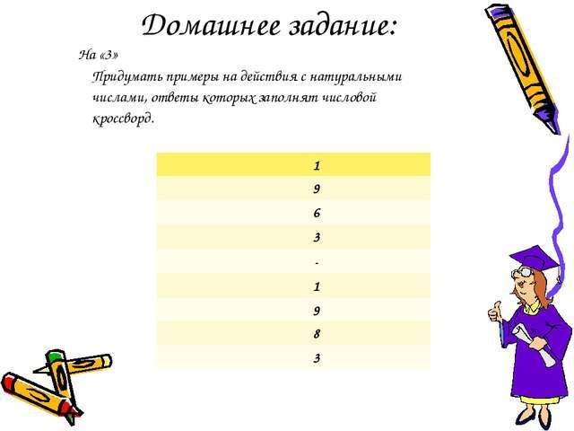 Домашнее задание: На «3» Придумать примеры на действия с натуральными числами...