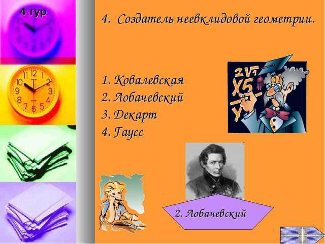 4. Создатель неевклидовой геометрии. Ковалевская Лобачевский Декарт Гаусс 2....