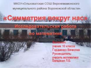МКОУ«Ольховатская СОШ Верхнемамонского муниципального района Воронежской обл