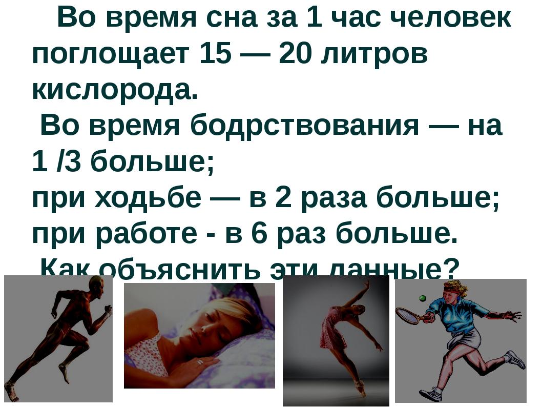 Во время сна за 1 час человек поглощает 15 — 20 литров кислорода. Во время б...