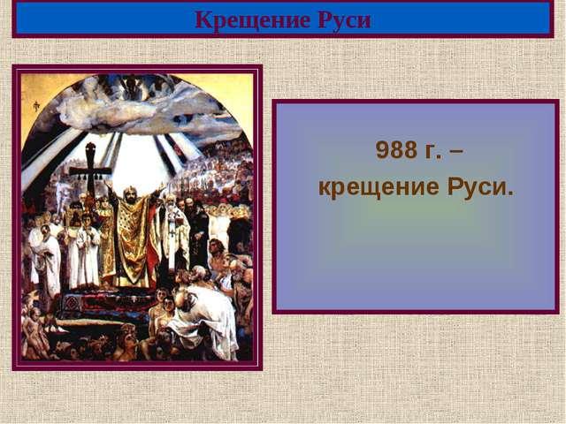 988 г. – крещение Руси. Крещение Руси Меню