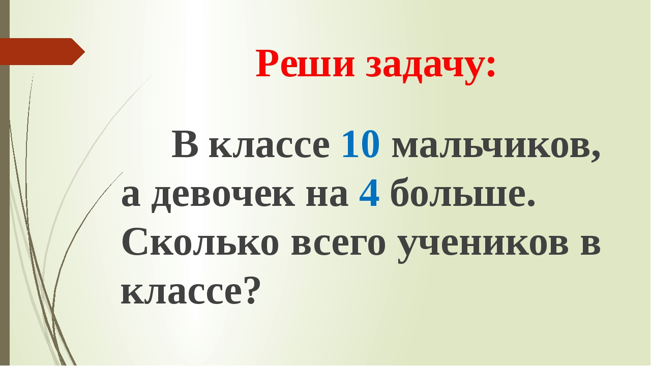 Реши задачу: В классе 10 мальчиков, а девочек на 4 больше. Сколько всего учен...
