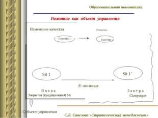 Развитие как объект управления Е–эволюция Изменение качества В ч е р а З а в