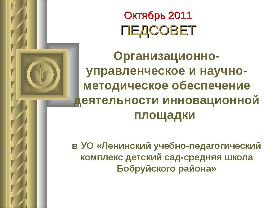 Организационно-управленческое и научно-методическое обеспечение деятельности...