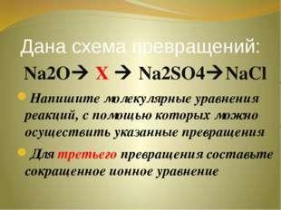 Дана схема превращений: Na2O X  Na2SO4NaCl Напишите молекулярные уравнения