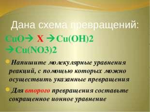 Дана схема превращений: СuO X Cu(OH)2 Cu(NO3)2 Напишите молекулярные уравн