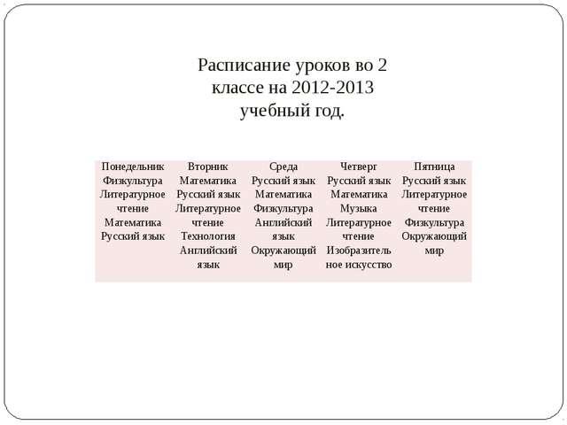 Расписание уроков во 2 классе на 2012-2013 учебный год. Понедельник Вторник С...