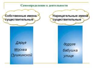 Самоопределение к деятельности Собственные имена существительные Дарье Москв