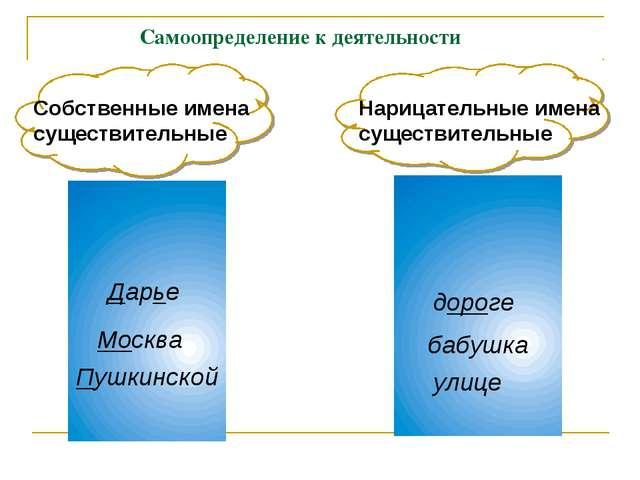 Самоопределение к деятельности Собственные имена существительные Дарье Москв...