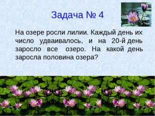 Задача № 4 На озере росли лилии. Каждый день их число удваивалось, и на 20-й