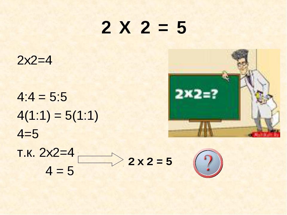 2 Х 2 = 5 2х2=4 4:4 = 5:5 4(1:1) = 5(1:1) 4=5 т.к. 2х2=4 4 = 5 2 х 2 = 5