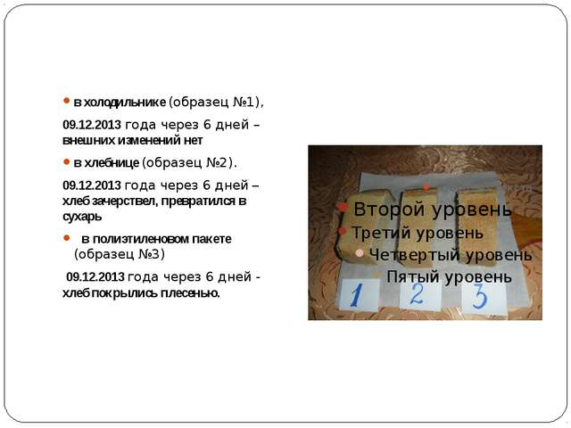 в холодильнике (образец №1), 09.12.2013 года через 6 дней – внешних изменени...