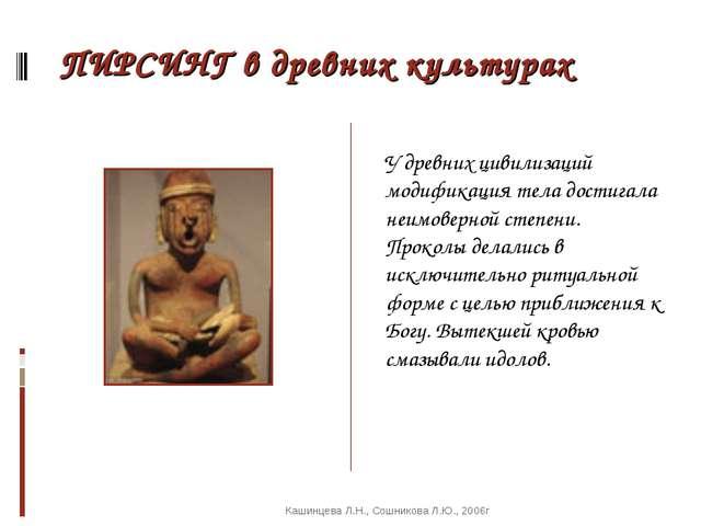 ПИРСИНГ в древних культурах У древних цивилизаций модификация тела достигала...