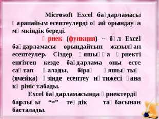 Microsoft Excel бағдарламасы қарапайым есептеулерді оңай орындауға мүмкіндік
