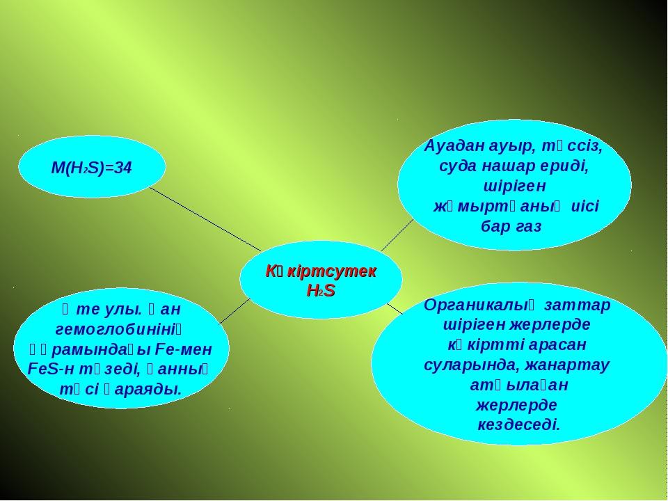 Күкіртсутек H2S M(H2S)=34 Өте улы. Қан гемоглобинінің құрамындағы Fe-мен FeS...