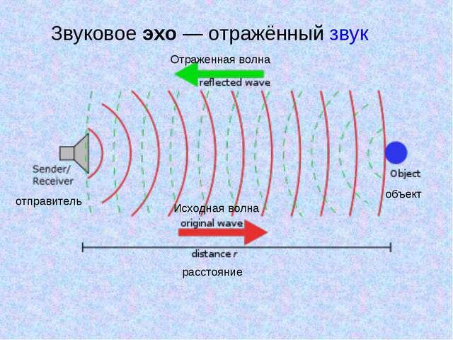 Звуковое эхо— отражённый звук отправитель Отраженная волна Исходная волна об...