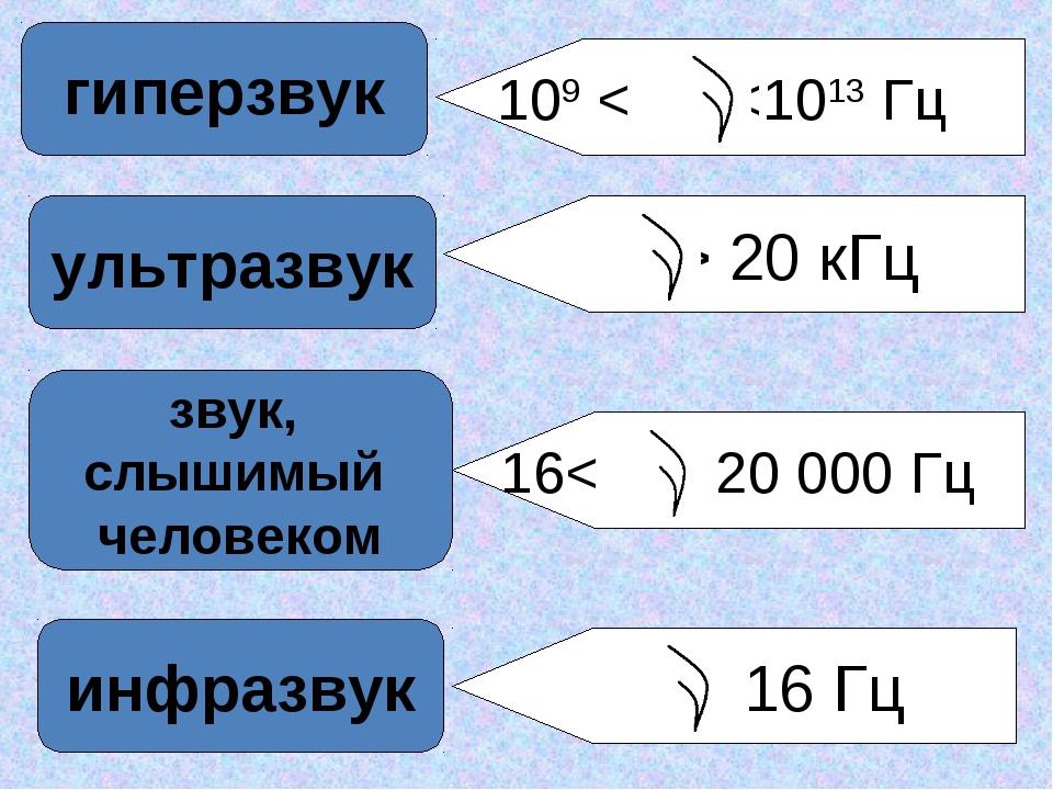 звук, слышимый человеком ультразвук гиперзвук инфразвук > 20 кГц 109 <